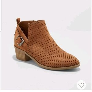 Laser Cut Ankle Booties with Side Zipper